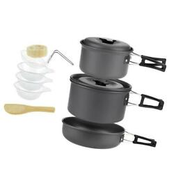 Camping Cookware Mess Kit Backpacking Gear Hiking Outdoors Cooking Equipment $38.37