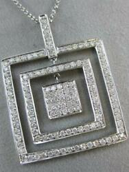 Modern Pave Diamond 14kt White Gold Square In Square Drop Pendant 16 N22176wp1