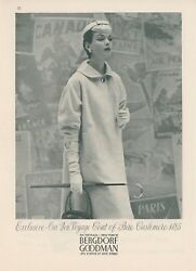1954 Bergdorf Goodman Clothing Store Ad Woman's Cashmere Coat 5th Ave. Ny
