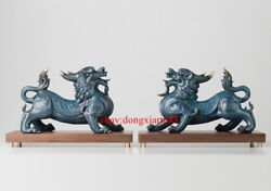 38 Cm Chinese Art Deco Pure Brass Painted Foo Dog Lion Dragon Kylin Sculpture