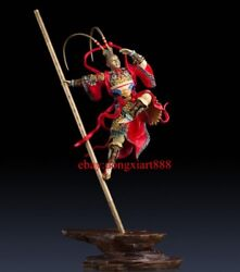 90 Cm Chinese Art Deco Pure Brass Painted Monkey King Sun Wukong Hero Sculpture