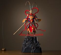 80 Cm Chinese Art Deco Pure Brass Painted Monkey King Sun Wukong Hero Sculpture