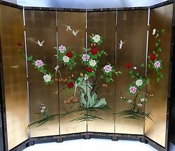Oriental Furniture 84 High Wooden Screen Gold Leaves Lacquer Room Dividers