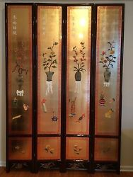 Oriental Furniture 9and039 High Wooden Screen Gold Leaves Lacquer Room Dividers