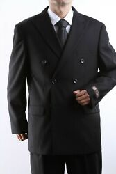 Mens Superior 150s P/r Woolfeel Double Breasted 6x2 Black Suit Sml-600522s-blk