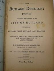 1909 Rutland City Directory Proctor Vermont History Book Old Vtg Howe Scale Ads