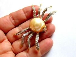 Vintage Spider Simulate Pearl Pin Brooch Bug Insect Rhinestone Crystal Halloween