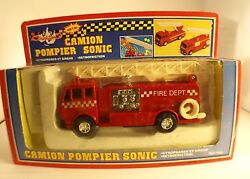 Redson Tradition 7169 Camion Pompiers Sonic Fire Dept Pompe Friction Neuf
