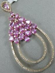 Large 11ctw Diamond Pink Sapphire 14k Y Gold Hanging Cluster Pear Pendant 101222
