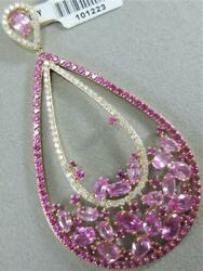Large 10.58ct Diamond Pink Sapphire 14k Gold Hanging Cluster Pear Pendant 101223