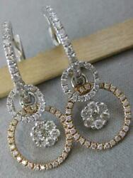 Designer Pave Diamond 18kt W Pink Gold Circle Cluster Dangle Earrings Mbe6749r