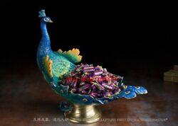 45 Cm China Art Deco Pure Brass Painted Peacock Peafowl Tray Decorate Sculpture