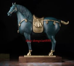 58 Cm Chinese Art Deco Pure Brass Painted Fengshui Tang Horse Decorate Sculpture