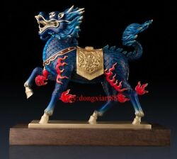 47 Cm Chinese Art Deco Pure Brass Painted Foo Dog Lion Dragon Kylin Sculpture