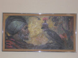 Awesome Oil Painting - Falcon And His Master - Jay Datus, Listed Artist Falconry