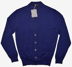 Tom Ford Cashmere And Silk Cardigan Sweater Navy Blue Sm/med 48 It Italy 1680