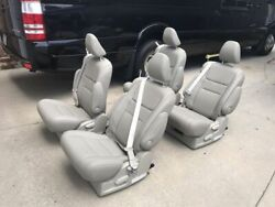 SET OF 4 TAN Color leather Reclining Captain Seats w Built-in seatbelt RV Bus