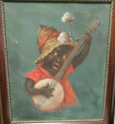Child With Banjo Old Original Oil On Canvas Painting Unsigned