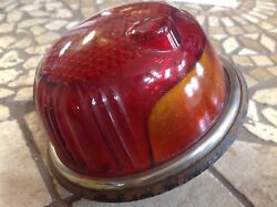 Vintage Tail Light Tag Lamp Red Glass Nu-ray Art Deco Early Travel Trailer Old
