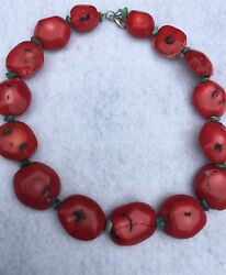 Outstanding Vintage Natural Red Coral Necklace 131 Grams Solid Sterling Silver