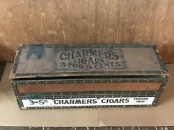 Antique Old Wood Charmers Cigar Box Rarew Vintage Tobacco 3and039s