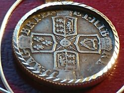 1702-1714 Queen Anne English .925 Sixpence Pendant With 18 Italian Silver Chain