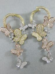 Large Pave Diamond 14k White Yellow Rose Gold Butterfly Dangle Earrings E57800tp