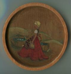 VINTAGE HAND PAINTED BLONDE GIRL PITCHER WATER TROUGH OLD GERMAN ART PAINTING