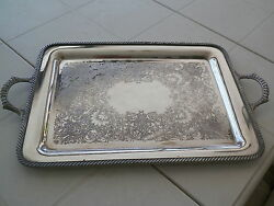 Vntg Rogers Silverplated Dual Handel 20and039and039 Tray 4091