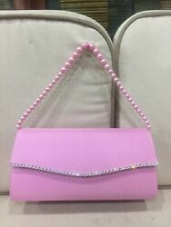 Thai Genuine Silk Handbag Square clutches crystal Pearl Strap Pink bags $35.00