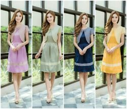 Thai Traditional Women Dress Style Clothing Party Fashion Skirt Wedding Working