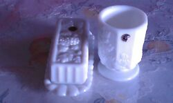 Vintage Nwl Westmoreland Milk Glass Butter Dish And Vase Grapes And Vine Pattern