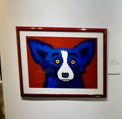 Blue Dog Head Over Heels Red Giant Original Silkscreen Signed by George Rodrigue
