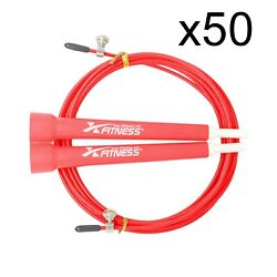 Lot Of 50 Red Speed Wire Adjustable Jump Rope For Cardio Crossfit Boxing Gym
