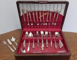 Vtg 1938 Oneida Heirloom Plate Grenoble S/p Flatware W/anti-tarnish Storage Box