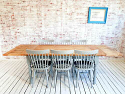 Twelve Seater Rustic Farmhouse Extending Dining Table Set Antique Style Chairs