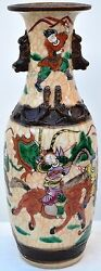 Antique Chinese Ming Handmade Porcelain Vase Scene-warriors-horses Rare