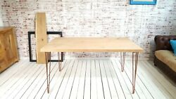 Industrial Red Oak Hairpin Dining Table With Antique Copper Hairpin Legs Modern