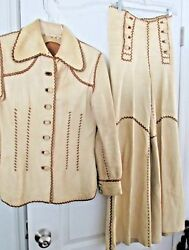 WOMENS DESIGNER COLLECTIBLE VINTAGE 1970s PITIQUITO LEATHER PANTS JACKET M 1112