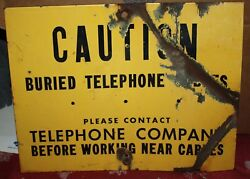 Vintage Telephone Buried Cable Sign Americana Man Cave Wall Hanger Enamel Yellow