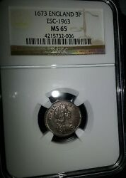+ 1673 Great Britain England 3p - Finest Known - Ngc Ms65 None Finer Graded +