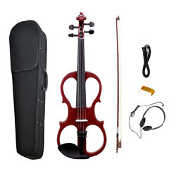 Portable 1 Set Wine Red 44 Size Electric Violin Fiddle with Storage Case
