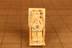 Chinese Old Hand Carved Cat Chair Statue Netsuke Collectsble