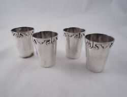 Bernice Goodspeed Sterling Mexico Set 4 Shot Cups Glasses Mexican Tequila Silver