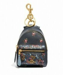 NWT COACH Backpack Coin Case Floral Ditsy Print Flower Cute Zip Key Charm F59553
