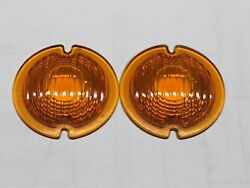 Vintage Pair Signal Stat Amber Glass Turn Lamp Light Lens Early Signal 3-3/4 3