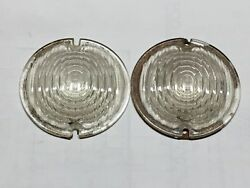Vintage Pair Arrow Clear Glass Backup Running Lamp Light Lens 3-7/8 3-3/8 Old