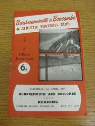 01/04/1967 Bournemouth V Reading Light Crease Punched Holes. We Try And Insp
