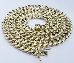 Real 10k Yellow Gold Miami Cuban Link Chain 8 Mm 22 Inches Necklace Box Clasp