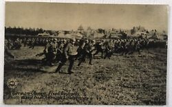 Original Ww1 Postcard Photo A German Troop Charge With Fixed Bayonets